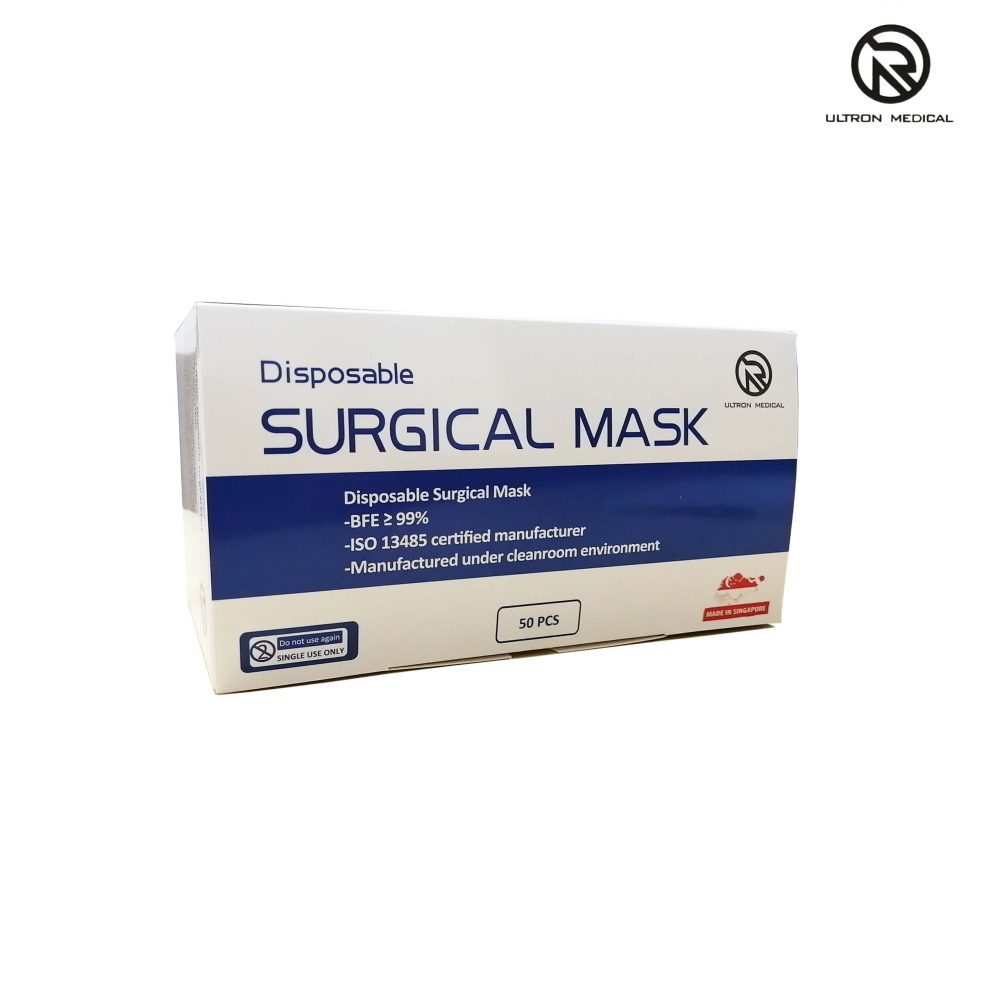 ULTRON MEDICAL Surgical face mask top angled right V1